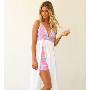 NWT Sabo Skirt V-Neck Sheer Skirt Maxi Dress